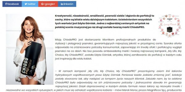 "EDYTA GÓRNIAK TWARZĄ KAMPANII ""MY LIFE, MY CHOICE, MY CHIODOPRO"" - WWW.BUSINESSWOMANLIFE.P"